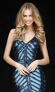 Image of Sherri Hill short sequin homecoming dress. Style: SH-51363 Detail Image 3