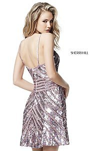 Image of Sherri Hill short sequin homecoming dress. Style: SH-51363 Back Image