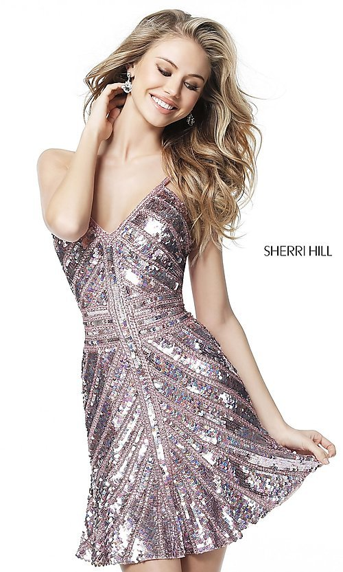 Image of Sherri Hill short sequin homecoming dress. Style: SH-51363 Detail Image 1