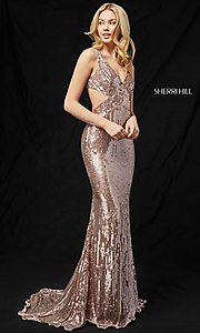 Sequin V-Neck Formal Dress with Cut Outs