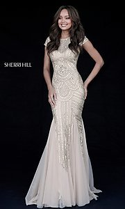 Long Sherri Hill Keyhole Open Back Sequin Prom Dress