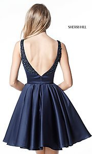 Image of semi-formal navy blue Sherri Hill homecoming dress. Style: SH-51524 Back Image
