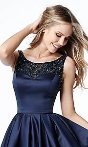 Image of semi-formal navy blue Sherri Hill homecoming dress. Style: SH-51524 Detail Image 1