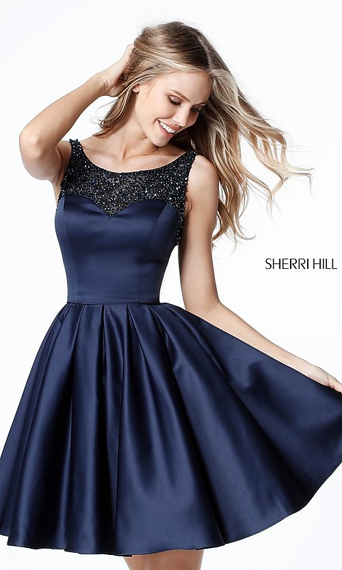 A Line Open Back Short Navy Homecoming Dress Promgirl