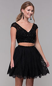 Image of Two-Piece Short-Sleeved Homecoming dress. Style: SH-51366 Detail Image 1