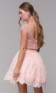 Image of Two-Piece Short-Sleeved Homecoming dress. Style: SH-51366 Back Image