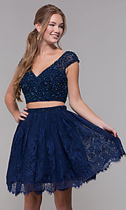 Image of Two-Piece Short-Sleeved Homecoming dress. Style: SH-51366 Detail Image 2