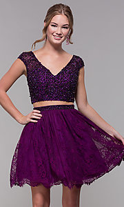 Image of Two-Piece Short-Sleeved Homecoming dress. Style: SH-51366 Detail Image 3