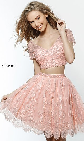 Two-Piece Short-Sleeved Homecoming Dress