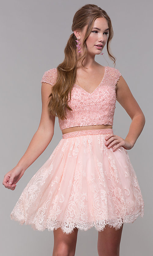 Image of Two-Piece Short-Sleeved Homecoming dress. Style: SH-51366 Front Image