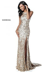 Sherri Hill Long Sequin Prom Dress with Silt