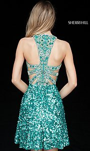 Image of short Sherri Hill sequin hoco dress with beaded back. Style: SH-51431 Back Image