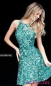 Short Sherri Hill Sequin Homecoming Dress with Beaded Back