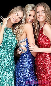 Image of short Sherri Hill sequin hoco dress with beaded back. Style: SH-51431 Detail Image 1