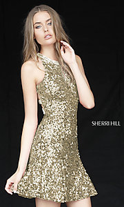 Image of short Sherri Hill sequin hoco dress with beaded back. Style: SH-51431 Detail Image 2