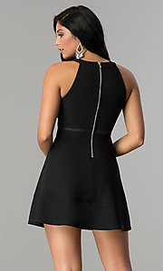 Image of short black homecoming dress with illusion detailing. Style: EM-FFF-1027-001 Back Image