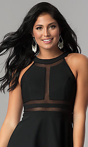 Image of short black homecoming dress with illusion detailing. Style: EM-FFF-1027-001 Detail Image 1