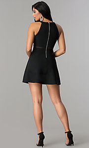 Image of short black homecoming dress with illusion detailing. Style: EM-FFF-1027-001 Detail Image 3