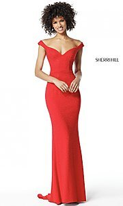 Sherri Hill Long Off-the-Shoulder Prom Dress with Rhinestones