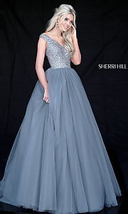 Sherri Hill Long V-Neck Prom Dress with Beaded Bodice