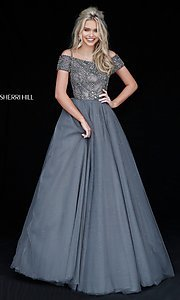 Sherri Hill Long Prom Dress with Beaded Off-the-Shoulder Bodice