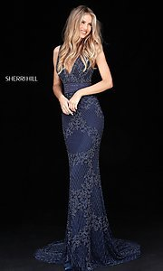 Long Sherri Hill Beaded V-Neck Prom Dress