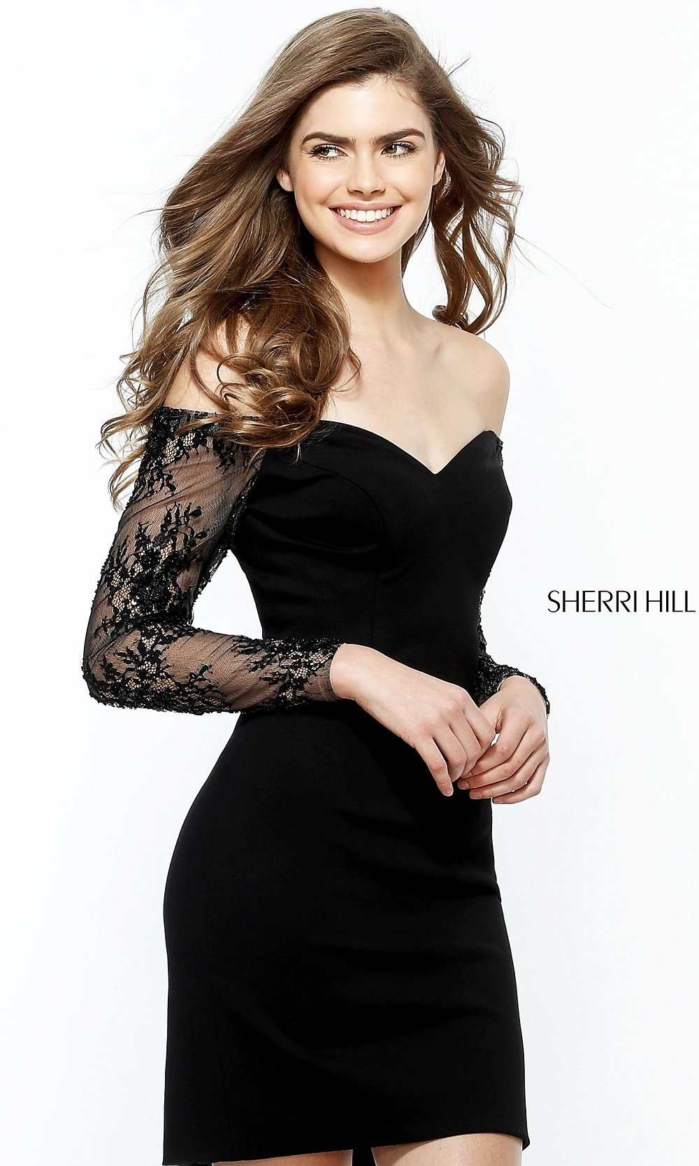 7cb617092c9 Off-the-Shoulder Homecoming Dress with Lace Sleeves