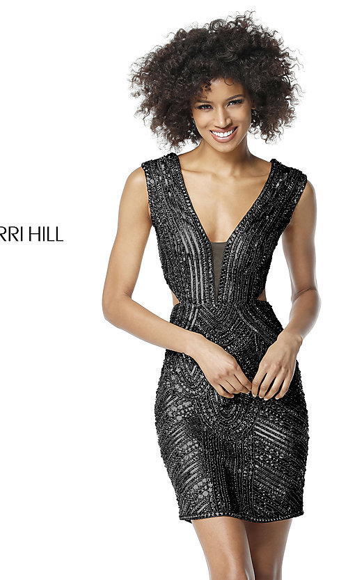 Image of beaded and sequined homecoming dress with cut outs. Style: SH-51362 Detail Image 3