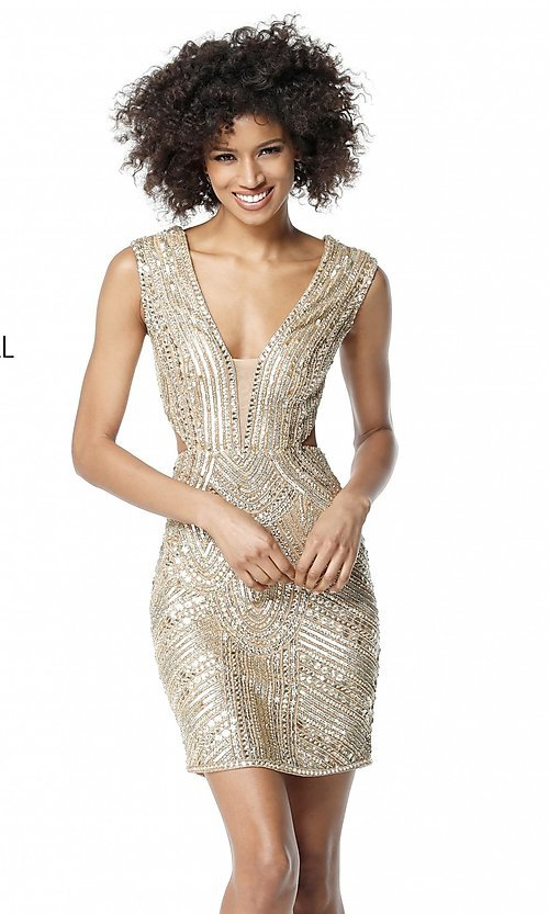 Image of beaded and sequined homecoming dress with cut outs. Style: SH-51362 Detail Image 1
