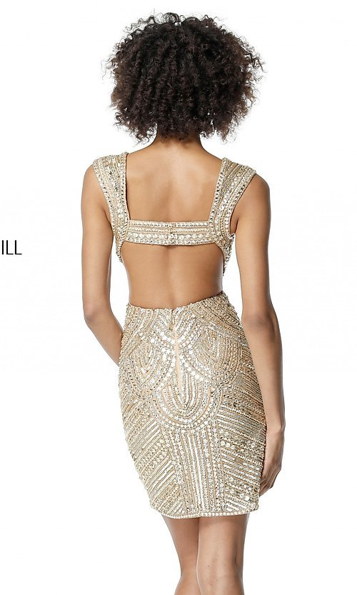 Image of beaded and sequined homecoming dress with cut outs. Style: SH-51362 Detail Image 2