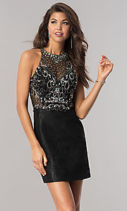 Short Jeweled-Bodice Lace Homecoming Dress