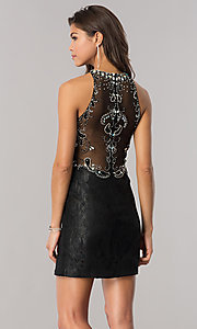 Image of short jeweled-bodice lace homecoming dress. Style: BL-PG071 Back Image