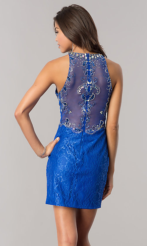 Image of short jeweled-bodice lace homecoming dress. Style: BL-PG071 Detail Image 3