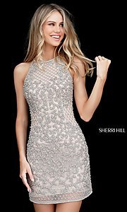 Short Beaded High Neck Sherri Hill Homecoming Dress