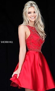 Short Sherri Hill Beaded Bodice Homecoming Dress with Pleats