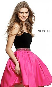 Short Strapless Sherri Hill Homecoming Dress with Beaded Waist