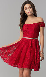Image of belted short lace off-the-shoulder homecoming dress. Style: MCR-1553 Front Image