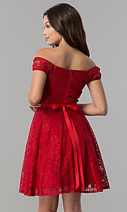 Image of belted short lace off-the-shoulder homecoming dress. Style: MCR-1553 Back Image
