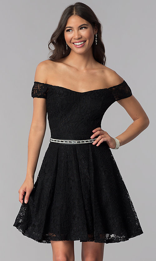 Image of belted short lace off-the-shoulder homecoming dress. Style: MCR-1553 Detail Image 2
