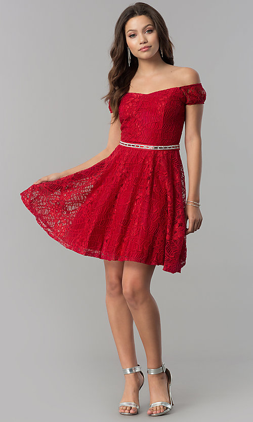 Image of belted short lace off-the-shoulder homecoming dress. Style: MCR-1553 Detail Image 1