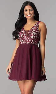 Image of wine lace-bodice junior-size short homecoming dress. Style: DMO-J318367 Front Image