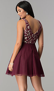 Image of wine lace-bodice junior-size short homecoming dress. Style: DMO-J318367 Back Image