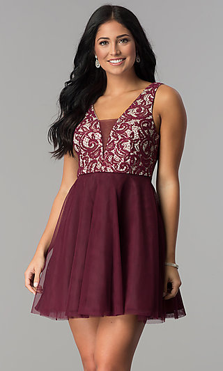 Wine Lace-Bodice Junior-Size Short Homecoming Dress