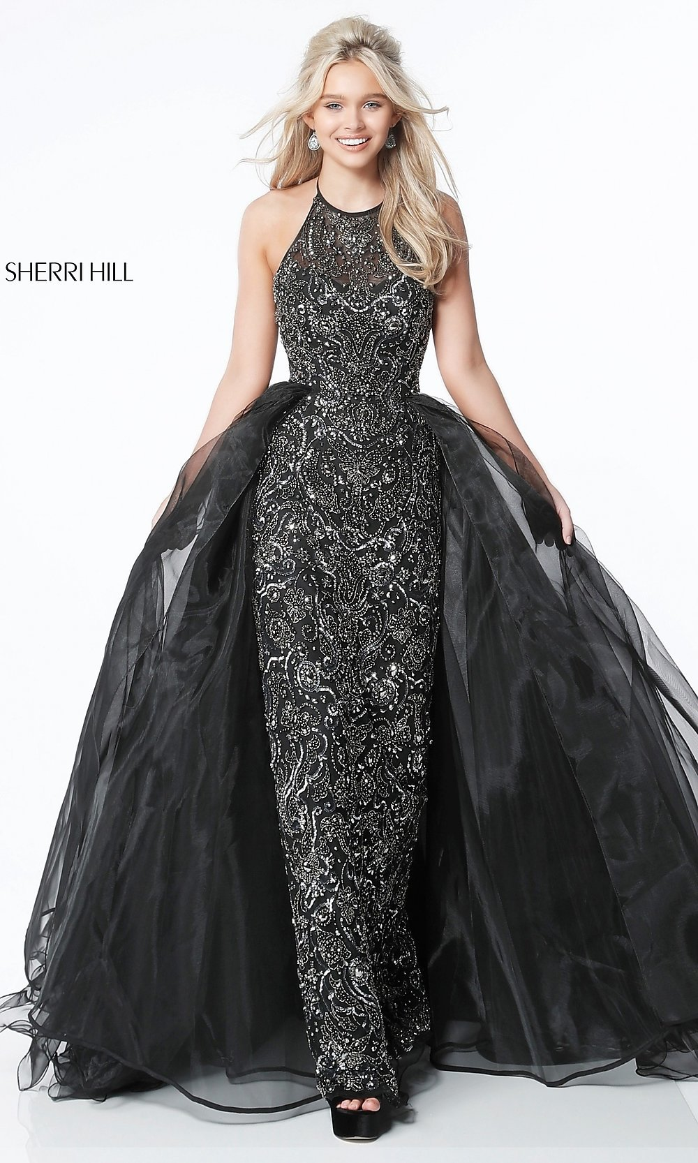Long Beaded Formal Dress with an A-Line Overlay