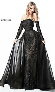Long Strapless Formal Dress with Long Sleeves