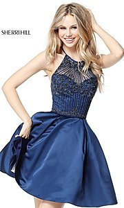 Short Sherri Hill Racer-Neck Homecoming Dress