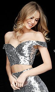 Image of sequin off-the-shoulder sweetheart homecoming dress. Style: SH-51411 Detail Image 1