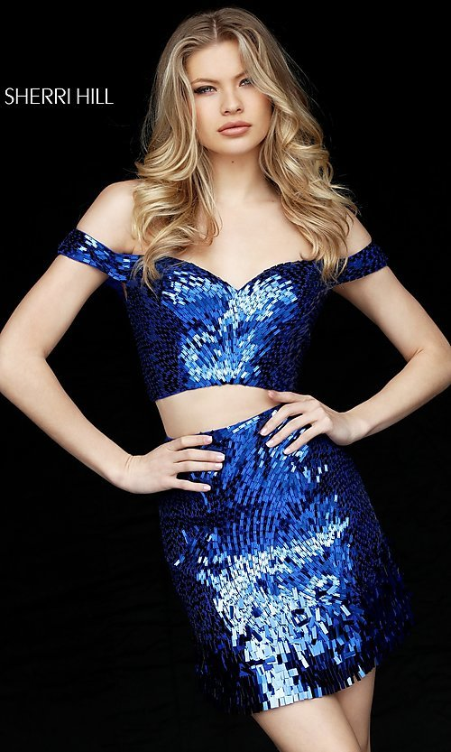 Image of sequin off-the-shoulder sweetheart homecoming dress. Style: SH-51411 Detail Image 2