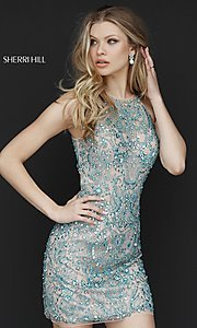Sherri Hill Short Open-Back Beaded Homecoming Dress with High Neck