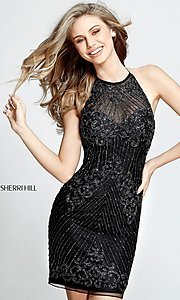 Short Open Back Beaded Sherri Hill Homecoming Dress